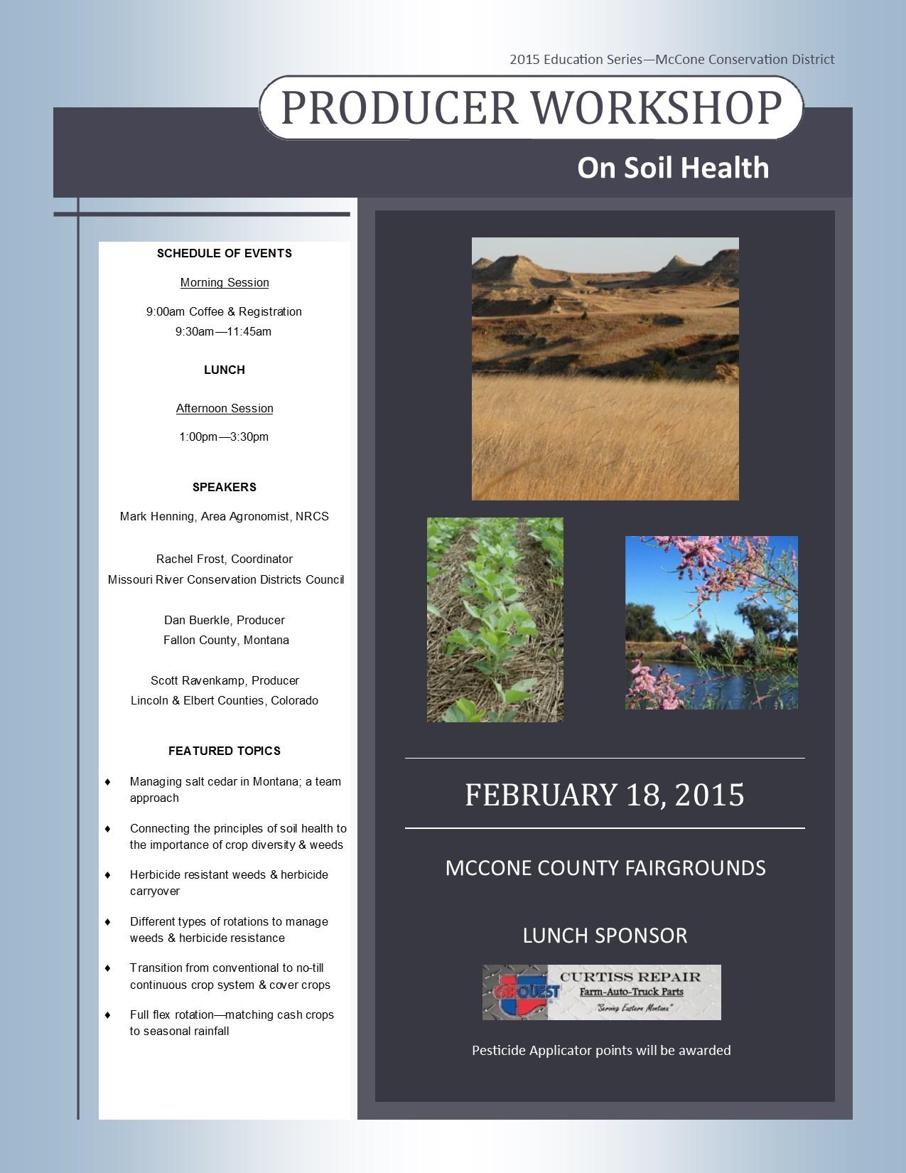 Montana mccone county brockway - Soil Health Workshop February 18 2015