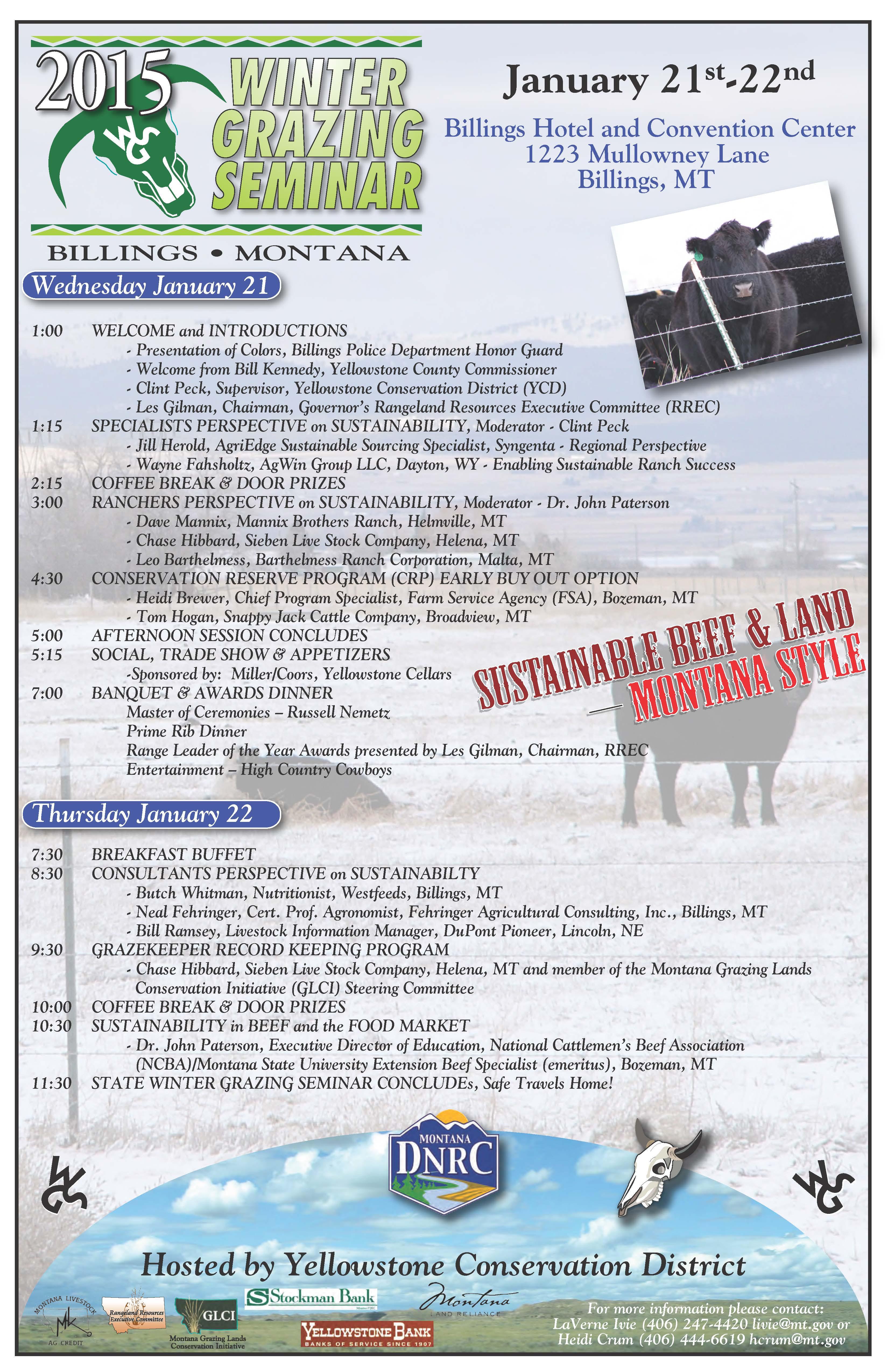 Montana mccone county circle - 2015 Winter Grazing Seminar January 21 22nd In Billings