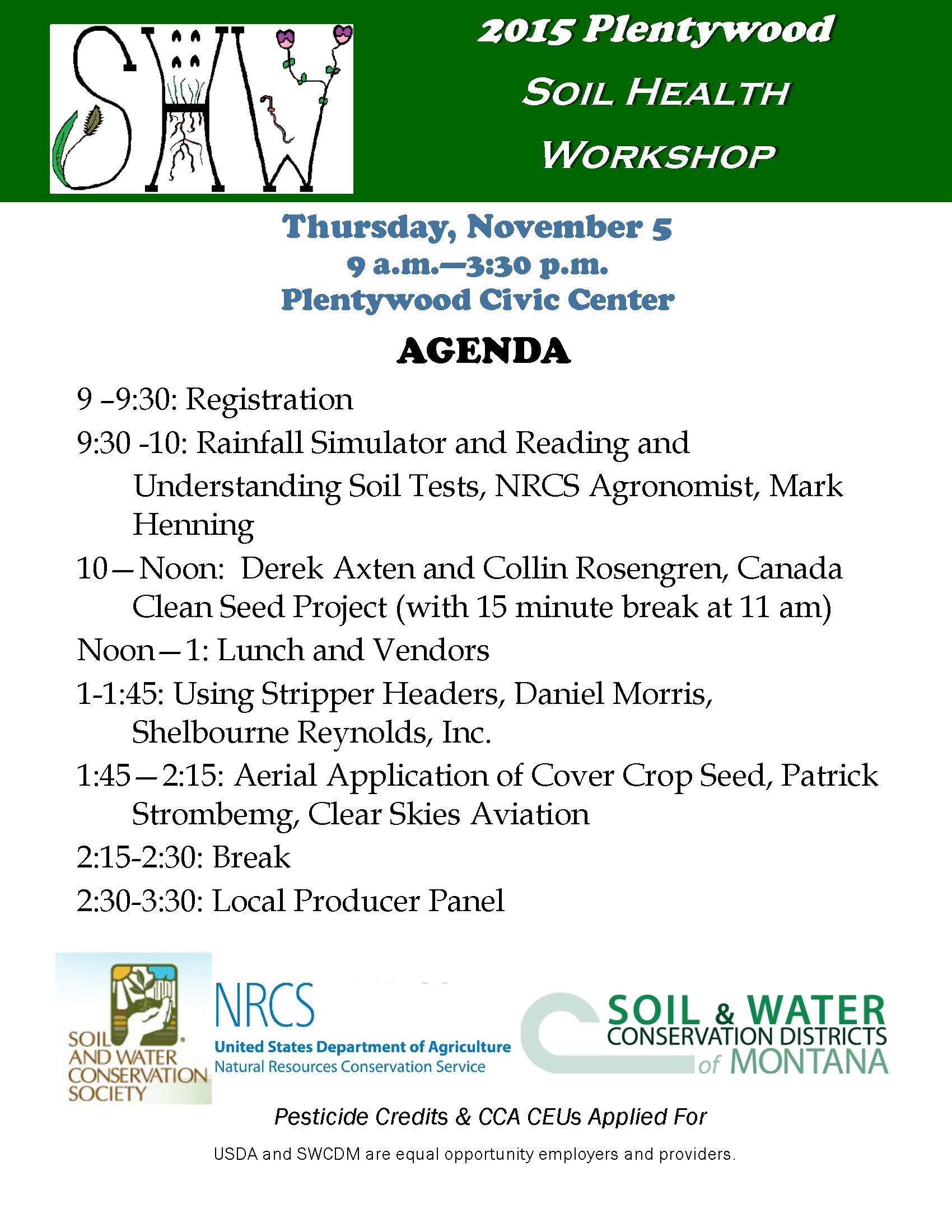 Montana mccone county circle - November 5 Plentywood Soil Health Workshop