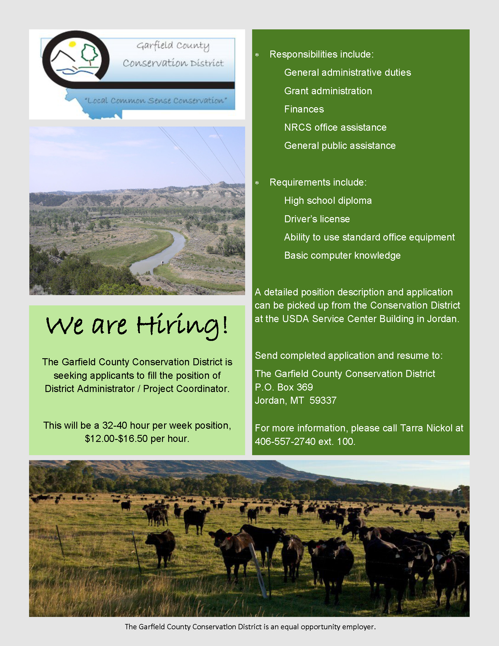 Montana mccone county brockway - Position Available With Garfield County Conservation District