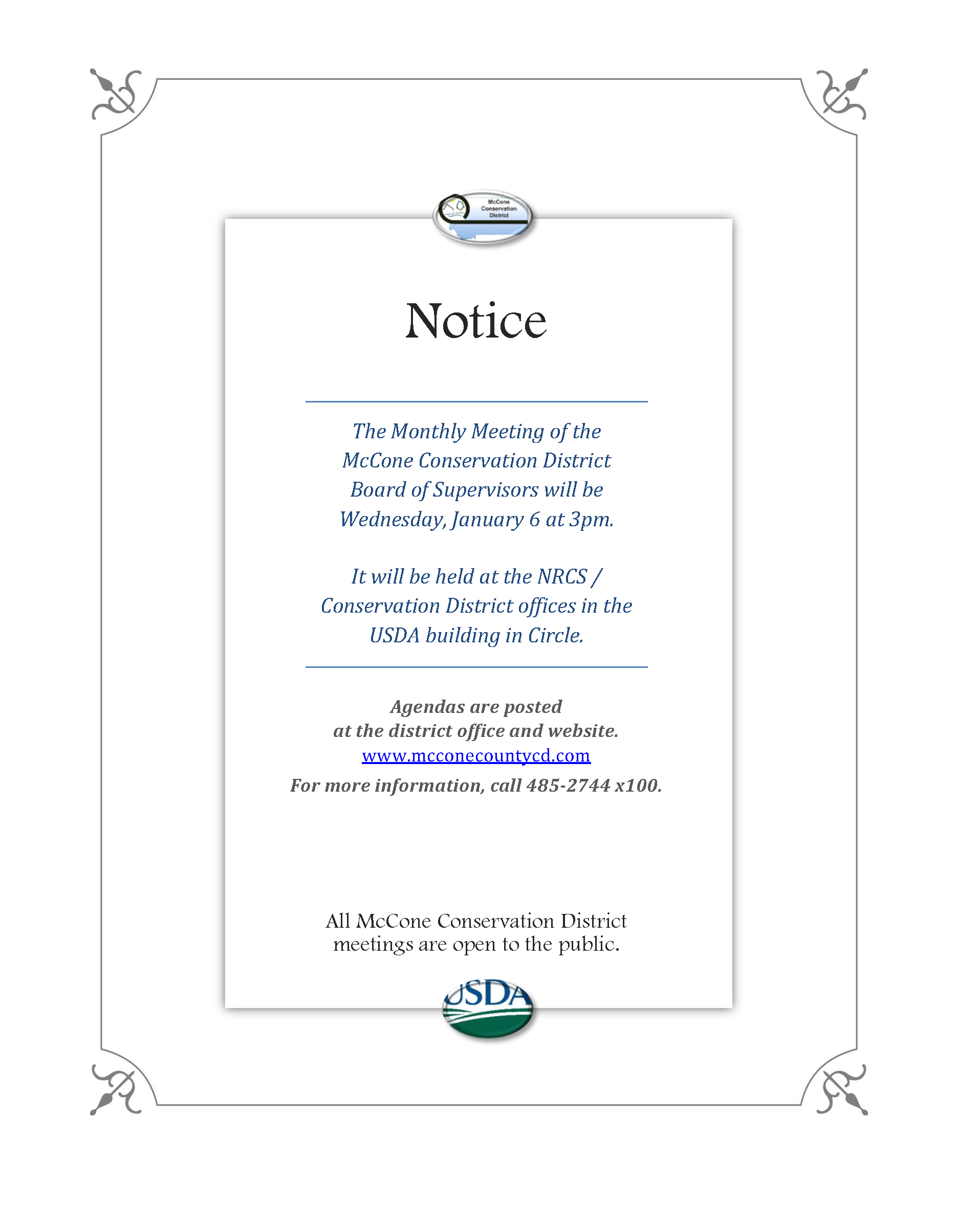 Montana mccone county circle - January 6th Board Of Supervisors Meeting