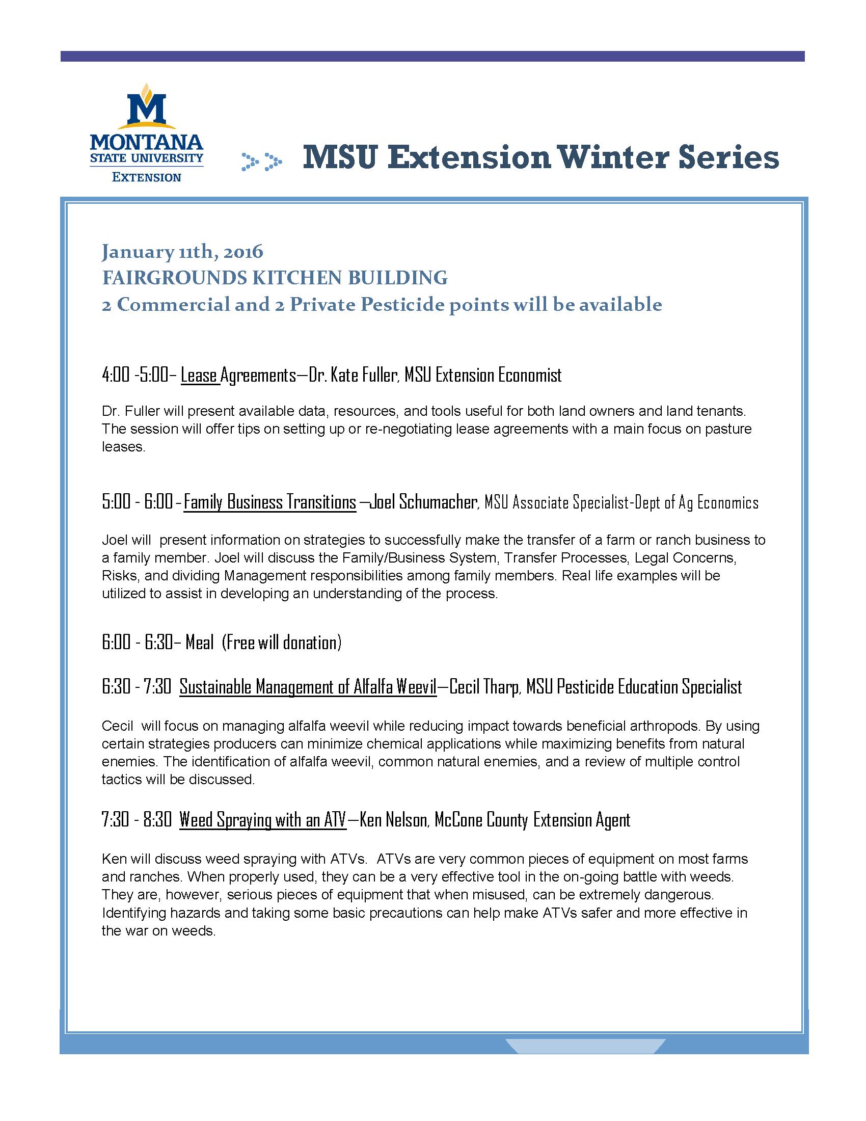 Montana mccone county circle - January 11 Msu Extension Winter Series