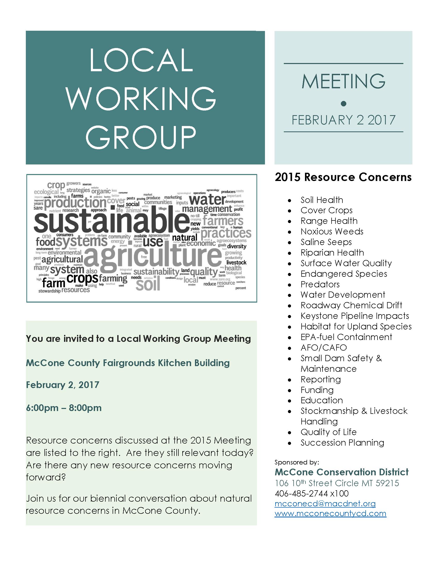 Montana mccone county circle - February 2 Local Working Group Meeting