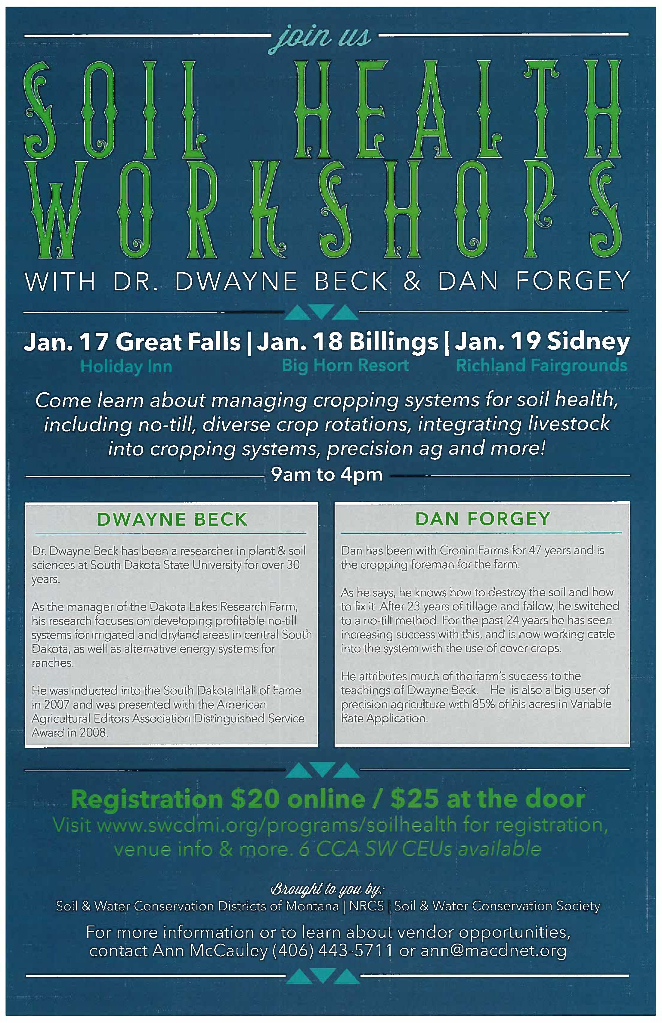 Montana mccone county brockway - January 19 Soil Health Workshop In Sidney